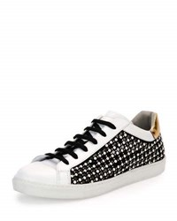 Rene Caovilla Pearly Leather Low Top Sneaker White Black White Black