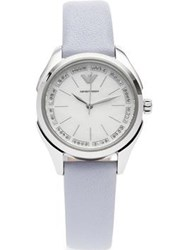 Emporio Armani Valeria Stainless Steel 32Mm Mother Of Pearl Dial Leather Watch Grey Blue One Colour