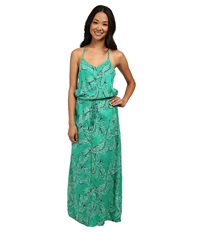 Roxy Casino Point Maxi Dress Mint Tribal Palm Women's Dress Green