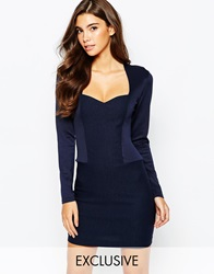 Vesper Sweetheart High Neck Pencil Dress With Long Sleeve Navy