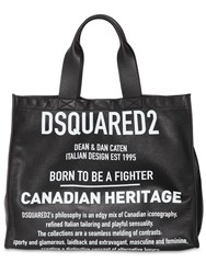 Dsquared News Logo Printed Leather Tote Black