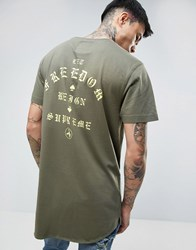 Cayler And Sons Longline T Shirt With Back Print Khaki Green