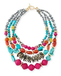 Akola Four Strand Statement Necklace Multi