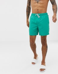 Original Penguin Swim Shorts With Small Logo In Teal Green