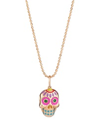 14K Rose Gold Skull Pendant Necklace Sydney Evan