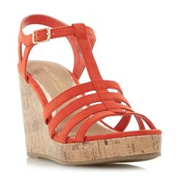 Head Over Heels Keeli T Bar Cork Wedge Sandals Orange