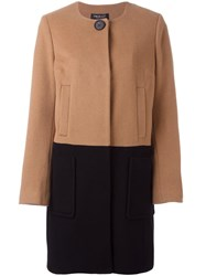 Twin Set Colour Block Single Breasted Coat Nude Neutrals