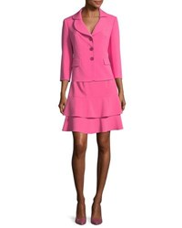 Albert Nipon Topper Jacket And Tiered Skirt Set Blossom Pink