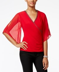Msk Embellished Flutter Sleeve Faux Wrap Top Bright Red