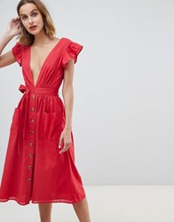 Neon Rose Button Front Midi Dress With Flutter Sleeves Red