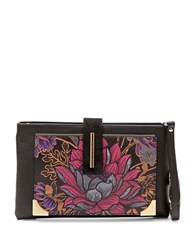 Braccialini Katia Printed Leather Wristlet Black