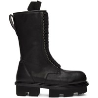 Rick Owens Black Double Zip Army Megatooth Boots