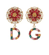 Dolce And Gabbana Floral Clip On Earrings Gold
