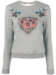 Red Valentino Rose Heart Bird Print Sweatshirt Grey