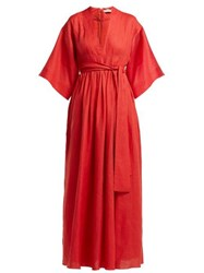 Three Graces London Ferrers Belted Linen Dress Red