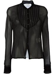 Christian Dior Vintage Sheer Button Front Blouse Black