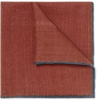 Drakes Drake's Contrast Tipped Wool Pocket Square Brick
