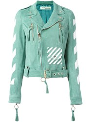 Off White Striped Print Biker Jacket Green
