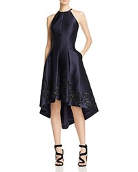 Carmen Marc Valvo Mikado High Low Dress Navy