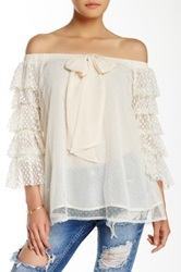 Ryu Off The Shoulder Ruffle Sleeve Blouse White