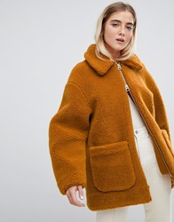 Weekday Borg Teddy Coat Brown