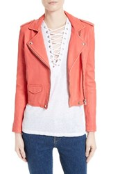 Iro Women's 'Ashville' Lambskin Leather Moto Jacket Coral Pink