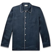 Sleepy Jones Henry Piped Silk Twill Pyjama Shirt Blue