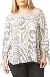 Evans Plus Size Women's Print Tie Sleeve Bardot Top Multi Dark