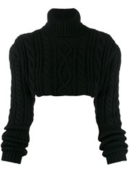 Andrea Ya'aqov Cable Knit Cropped Jumper Black