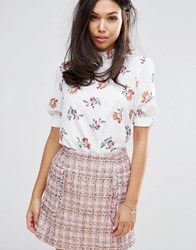 Fashion Union High Neck Blouse In Floral White