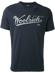 Woolrich Logo Print T Shirt Men Cotton Xl Blue