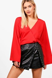 Stephanie Wrap Front Woven Blouse