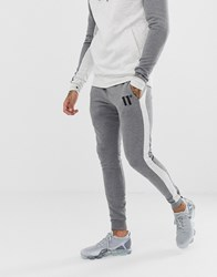 11 Degrees Skinny Joggers In Grey Colour Block