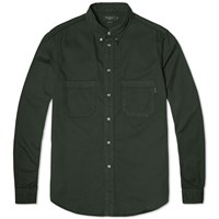 Paul Smith Button Down Garment Dyed Heavy Twill Shirt Olive