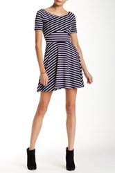 Iris Striped Fit And Flare Dress Blue