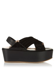 Chrissie Morris Jupiter Crossover Suede Sandals Black