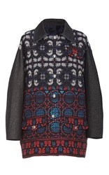 Anna Sui Peacock And Flower Jacquard Barn Jacket Blue White Red