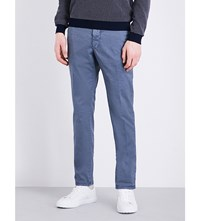 Slowear Slim Fit Tapered Stretch Cotton Trousers Petrol