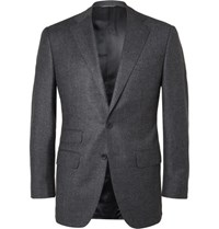 Thom Sweeney Blue Slim Fit Puppytooth Wool And Cashmere Blend Suit Jacket Navy