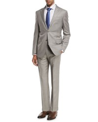 Ermenegildo Zegna Sharkskin Two Piece Suit Light Gray