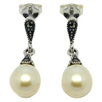 Goldmajor Sterling Silver Marcasite And Freshwater Pearl Drop Earrings Silver