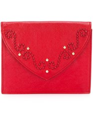 Yves Saint Laurent Vintage Studded Clutch Red