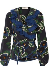 Tory Burch Jacinta Ruffle Trimmed Floral Print Silk Crepe De Chine Wrap Top Navy