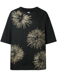 Sasquatchfabrix. Floral Embroidered T Shirt Men Cotton Linen Flax L Black