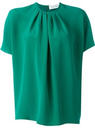 Gianluca Capannolo Batwing Pleated Front Blouse Green