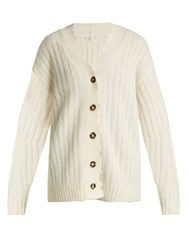Helmut Lang Distressed Ribbed Knit Cardigan Ivory