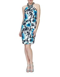 Carmen Marc Valvo Silk Sheath Dress Turquoise
