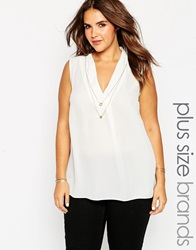 New Look Inspire Sleeveless Blouse With Necklace White