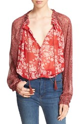Free People Women's 'Hendrix' Print Peasant Blouse Red