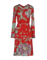 Leonard Paris Knee Length Dresses Red
